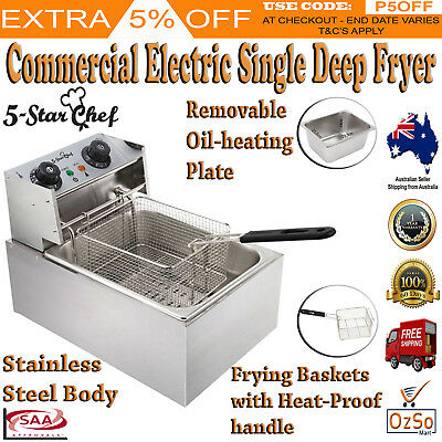 5 Star Chef Deep Fryer Cooker Electric Commercial Single 10L W/Basket Bench Top