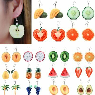 Womens 3D Double-Side Acrylic Fruit Orange Dangle Drop Hook Earrings Jewellery