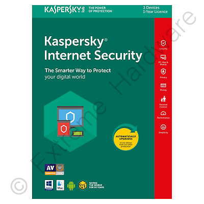 Kaspersky Internet Security 2018 Multi Device 3 Users/PCs 1 Year Activation Key