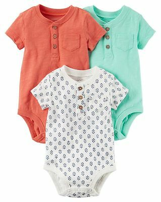 New Carter's 3 Pack Henley Mint Rust Bodysuits NWT 12m 18m 24m Shirt Pocket Boys