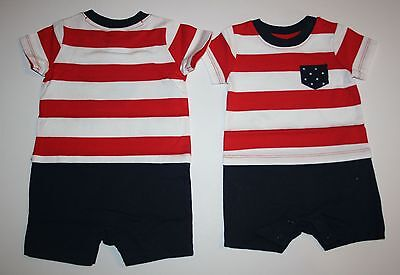 New Gymboree Patriotic One Piece Romper Size 3-6m NWT Red White Cute July Fourth