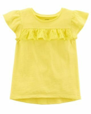 New Carter's Girls Yellow Flutter Sleeve Eyelet Front Trim Top NWT 2t 3t 4t 5t