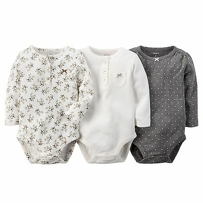New Carter's 3 Pack Henley Style Bodysuits Gray Ivory NWT Size 3 6 9 12 18 24m