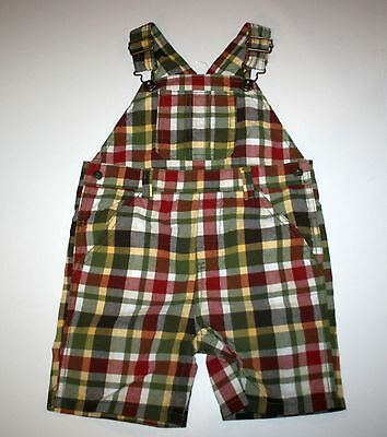 New Gymboree Plaid Overalls Shorts 18-24m NWT Outback Adventure
