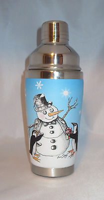 Penguins Snowman Mugzie Cocktail Shaker 16 oz Stainless Steel Insulated New
