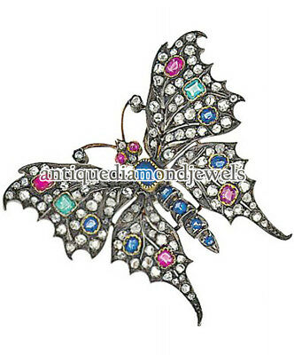 1d746476f Butterfly 3.77ct Rose Cut Diamond Gemstone 925 Silver Annversary Brooch Pin
