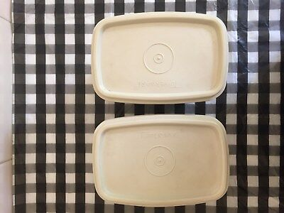 2 x Tupperware vintage plastic small containers cream, used