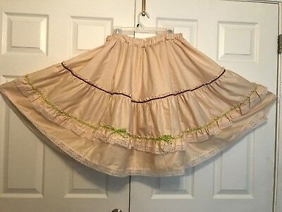 Square Dance Skirt Tan With Lace,  Ribbon, Ric Rac And Bows X-L