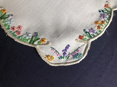 Superb Vintage Floral Hand Embroidered Small Square Cream Irish Linen Tablecloth