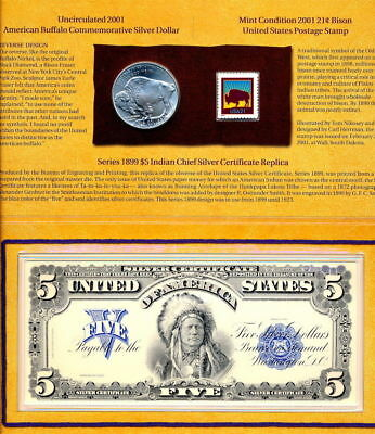 2001 American Buffalo Silver  Coin And Currency Set   Attractive & Problem Free