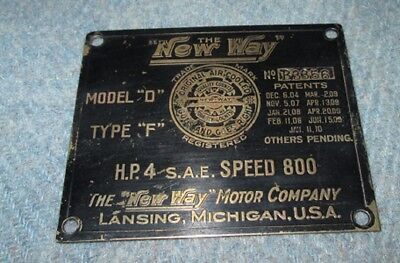 """Vintage Plate from """"New Way"""" Motor Co. Mod. D 4 HP Type F"""