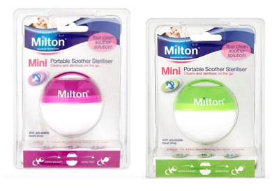 2 x Milton DUMMY SOOTHER STERILISER Baby Portable Travel / DUO PACK Pink +Green