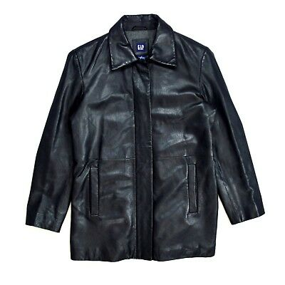 GAP Soft Sleek Black Leather Wool Lined Quilted Zip Up Riding Jacket Womens S