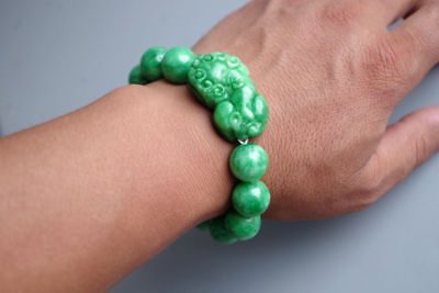 Exquisite Chinese Natural green jade carving beads pixiu jewelry jade bangle