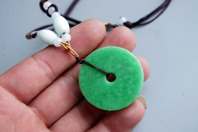 Exquisite Chinese natural green jade carved Peace buckle Jewelry jade pendant
