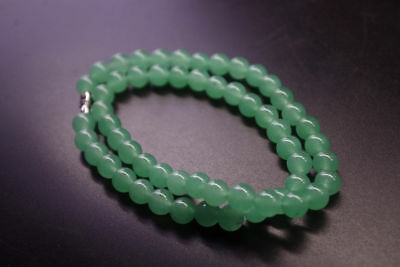 8mm bead*18inch Chinese natural light green jade DongLing Jewelry jade necklace