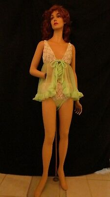 Vintage 1950's 1960's Baby Doll Negligee' Naughty Nightgown w/matching panty  S