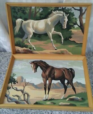 completed paint by numbers equestrian horses mid century retro decor