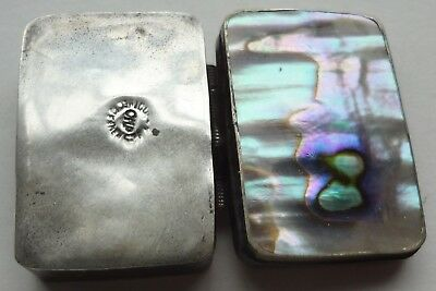 Pre 1948 MEXICAN STERLING SILVER & MOTHER OF PEARL PILL BOX sgnd CMP