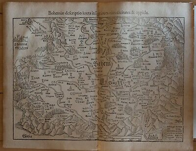 Sebastian Munster: Map Of Bohm - Titled: Bohemia