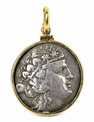 Island of Thasos Silver Dionysus Heracles Tetradrachm Coin in 14k Gold Pendant