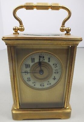 Beautiful Vintage Brass Carriage Clock W/ Porcelain Dial & Beveled Glass