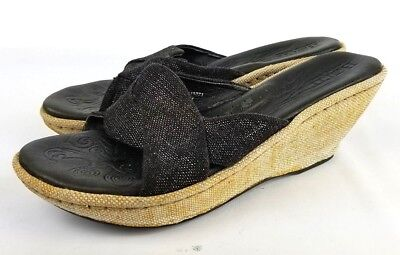 c6aa44e7c1b7 Born Wedge Black Sandal Heel Espadrille Size 6 US 36.5 EU Open Toe Slide  Natural