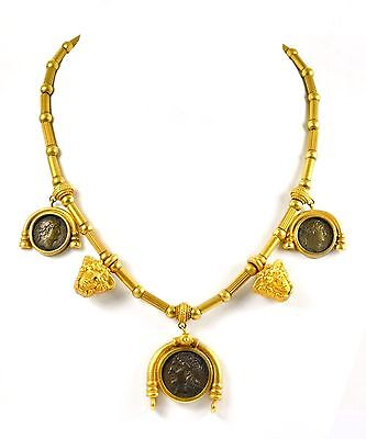 CUSTOM 18k Yellow Gold Ancient Greek God Mercury Coin Beaded Necklace 81 GRAMS
