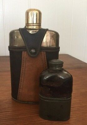 "Pair Of Very Old Leather & Pewter & Glass Antique Rustic Liquor ""hip Flasks"""
