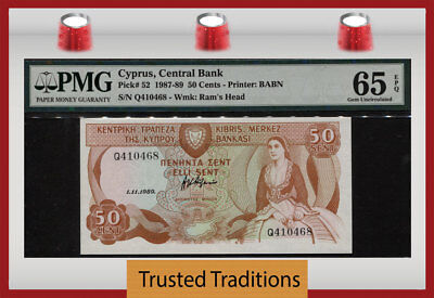 Tt Pk 52 1987-89 Cyprus - Central Bank 50 Cents Pmg 65 Epq Gem Uncirculated!