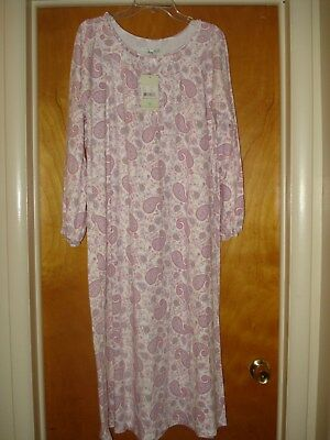 NWT Brand New Women's Size Large Laura Ashley Soft Knit Paisley Print Nightgown
