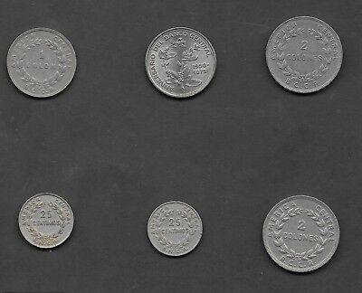 Costa Rica - 6 Older Circulated Centimos & Colones Coins