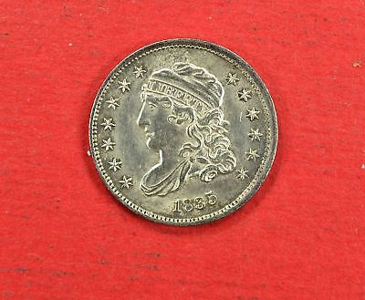 1835 5c Silver Capped Bust Half Dime Coin Small Date 5C. High Grade Solid AU-MS