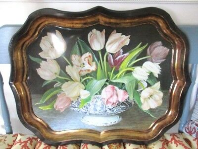 Large Vintage Still Life Tole Metal Lithograph - Flow Blue Bowl with Tulips Tray