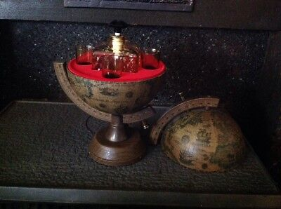 Vintage Musical Wooden Miniature World Globe Desk Decanter & Glass Set (RARE)