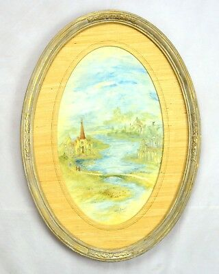 Vintage 1965 Signed Oil Fantasy Painting Oval Frame Landscape Outside Art 21""