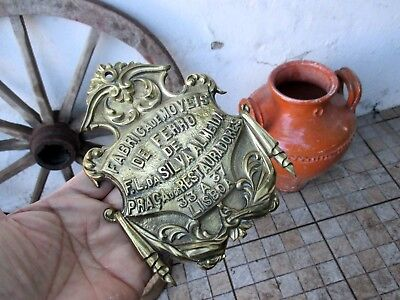 Antique Large Emblazoned Rare Brass Plate Plaque Advertising Lisboa Iron Store