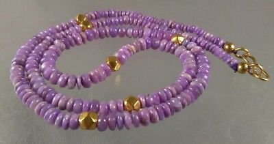 dkd/18K gold Beads Pink Lavender Sugilite Necklace 64cts