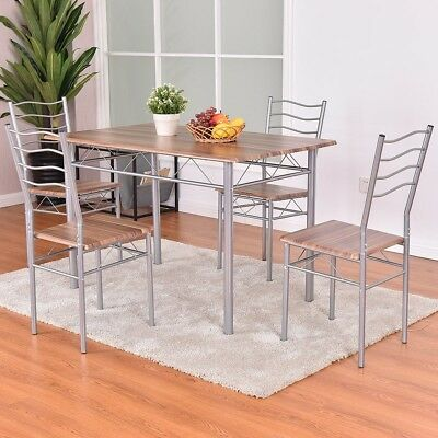Kitchen 5 Pcs Wooden Metal Dining Table and Chairs Set Stylish N Functional