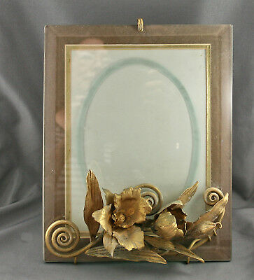 Very Special Handmade One Of A Kind Photo Frame w/Brass Floral Motif