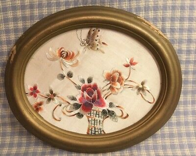 """Antique 19th Century Silk on Silk  10""""x8"""" Embroidery Oval Cherry Frame Butterfly"""