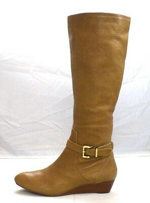 17e9810358ac JESSICA SIMPSON Soft Tan Pebbled Leather Knee High Equestrian Riding Boots  10 M