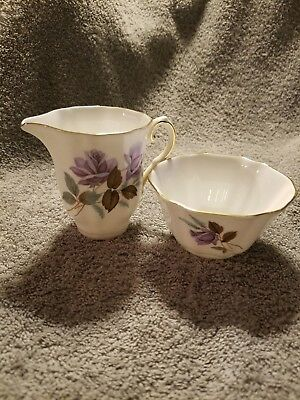 Royal Grafton Bone China Lavender Rose Creamer And Sugar Dish