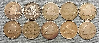 Lot Of 10 Lower Grade Flying Eagle Small Cents - (5) 1857 & (5) 1858