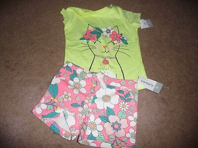 NEW NWT Carters girls size 3T beautiful floral short/sparkly shirt outfit
