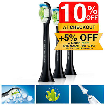 3PK Philips Sonicare Optimal Replacement Brush Heads for Electric Toothbrush BLK
