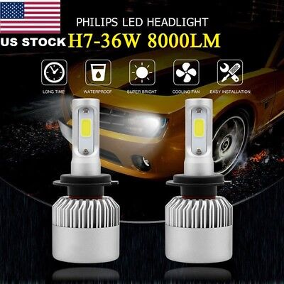 USA H7 9005 LED 8000LM S2 LED Headlight Kit Low Beam High Power 6500K White Bulb
