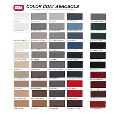 SEM Color Coat - Color Card Chart for Plastic & Vinyl Flexible Coatings