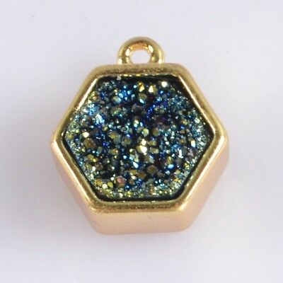 9mm Natural Agate Titanium Druzy Bezel Charm One Bail Gold Plated T059469