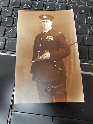Grimsby Police And Military Service Portrait  Who ?   Postcard B